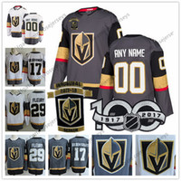 Wholesale Golden Yellow - Custom Vegas Golden Knights 2017-2018 New Brand Gray White Fleury Neal Any Number Name #17 Sewn Inaugural Season 100TH Patch Jersey S-4XL