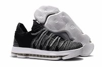 Wholesale Kd Sneakers Kids - Free Shiping Cheap Youth KD 10 Athletic Big Boys And Girls Sneakers Kids Basketball Shoes Oreo Fingerprint Triple Black
