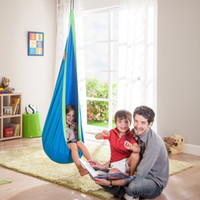Wholesale children outdoor swing - Indoor Outdoor Children Hanging Chair Seat Cotton Nest With Inflatable Cushion Garden Baby Kids Swing Sleeping Bag Pod Hammock