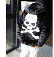 ingrosso cappotti lunghi di pelliccia del faux del mens-Mens nuovo faux pelliccia calda erba capispalla outback cranio decorazione cappotto con cappuccio manica lunga