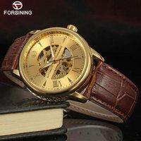 relógios mens tourbillion venda por atacado-FORSINING Moda Clássica Mens Relógios Tourbillion Cor De Ouro Relógio Mecânico Automático Dos Homens Top Marca de Luxo Relógio