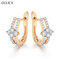 Wholesale Earing Piercing - whole saleGULICX Brand Fashion New Piercing Hoop Earring for Women Gold-color Earing Round Crystal CZ Wedding Jewelry E228