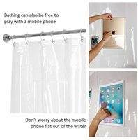 Wholesale waterproofing tablet online - Clear Waterproof Bath Shower Curtain Liner With Pockets For Phone Ipad cm Phone Tablet Holder Bathroom Shower Curtains OOA5565