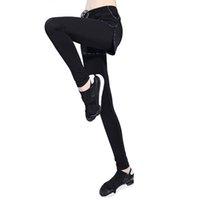 leggings de entrenamiento negros al por mayor-CALOFE Negro Nueve puntos Entrenamiento Leggings Pantalones falsos de dos piezas Cremallera de cintura alta Sporting Legging Ejercicios de fitness Leggins