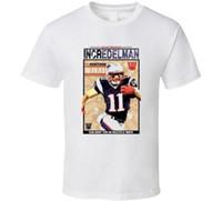 futbol ingiltere toptan satış-Incredelman 11 New England Futbolu Vintage Bak Julian Edelman T Gömlek Mens T Gömlek Yaz O Boyun% 100% Pamuk Erkekler Kısa