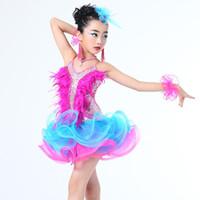 ingrosso abiti da ballo della sala da ballo-Costume da dancewear di jazz delle ragazze Vestito moderno ballante da ballo del partito del vestito da ballo delle paillettes latino-americano del bambino Vestito da ballo del tutu per le ragazze