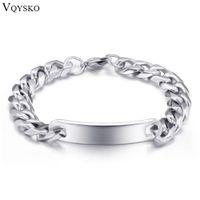 Wholesale id bracelet resale online - Stainless Steel Bracelet Men Chain Link Bracelets fashion Silver Stainless Steel jewelry ID Bracelets Bangles pulseira