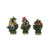 Wholesale Christmas Santa Figurines - 1 Pcs A Small Pine Ornaments Tree Santa Mini Christmas Trees Xmas Decorations Placed In The Desktop Festival Home Party