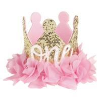 neuer mädchen blumenhut großhandel-SIRENXI 2018 Neue Süße Prinzessin Baby Mädchen Blume Glitter Crown Stirnband 1/2. Geburtstag Party Hut Party Hairband Haarschmuck