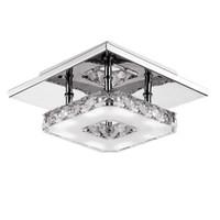 moderna araña de luces cuadradas al por mayor-Modernas lámparas de luz de techo de cristal LED 12W Lámpara de iluminación LED Lámpara de cristal montada en superficie cuadrada para pasillo Pasillo