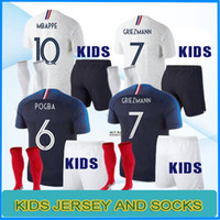 Wholesale cup teams - MBAPPE kids kit pogba Jersey 2018 World Cup DEMBELE GRIEZMANN KANTE national team football shirts maillot equipe de MBAPPE