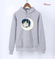 luna marinera caliente al por mayor-Japón Anime Kawaii Sailor Moon sudaderas con capucha rosas para niñas 2018 Hot Spring otoño sudaderas lindas para Lady Women's Harajuku sudadera con capucha
