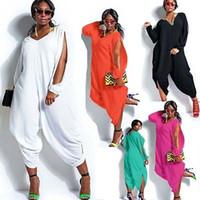harem overalls frauen großhandel-Frauen Hot Langarm Chiffon Strampler Baggy Harem Jumpsuit Plazzo Plus Größe