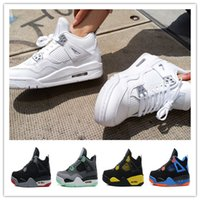 Wholesale money split - 2018 designer shoes High Quality 4 4s White Cement Pure Money Basketball Shoes Mens Bred Royalty Game Royal Sports Sneakers boots