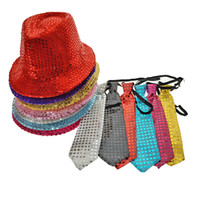 Wholesale Glowing Tie - 2018 Hot Sale New Woman Man Sequins Light Led Neck Tie Glowing Hip Hop Jazz Hats Cap Flashing Birthday Party Wedding Decor