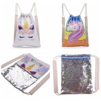 Wholesale sequin bag clothing for sale - Sequins Mermaid Backpack Unisex Unicorn Drawstring Bag Outdoor Sports Fashion Reversible School Bag Travel Bag CCA10602