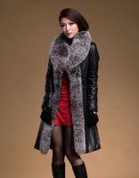 Wholesale sheepskin fox fur coat - Brand New Woman's Winter Fashion Genuine Sheepskin Down Leather Coat Huge Natural Fox Fur Collar Long leather Jacket women GQ299