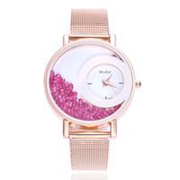 reloj de cuentas de cuarzo al por mayor-Hot Quicksand Bead Watches Women Fashion Quartz muñeca Ladies Watch Rhinestone PU pulsera de cuero Relojes Reloj Relogio # 10