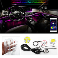 Wholesale rgb led strip colorful resale online - Car Interior LED RGB Atmosphere Lamp Neon Strip Light Car styling Decoration with Sound Active Bluetooth APP Remote Control Colorful