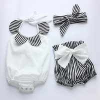 Wholesale Vintage Baby Cloths - 2018 Summer New Arrival Baby Toddler Boutiques Girls Vintage Floral Ruffle Neck Jumpsuits Cloth with Bow Knot Shorts Headband