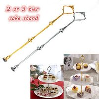 Wholesale cake tiers - 1 Sets 2 or 3 Tier Cake Plate Stand(Plate Not Include) Handle Crown Fitting Metal Wedding Party Silver Golden Free Shipping