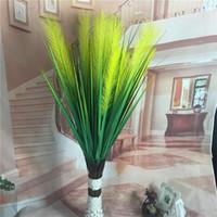 pasto de seda artificial al por mayor-Plástico Reed Grass Moda Dos cabezas Simulación Fake Silk Flowers Flor artificial para hotel Decoraciones de la boda 6 8yl UU