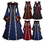 königin kostüme großhandel-Frauen Adrette Kleid Königin Renaissance Kostüm Mittelalter Maiden Fancy Cosplay Bodenlangen Erwachsenen Kleid KKA5898