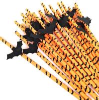бумага пищевая оптовых-Halloween Paper Straws Biodegradable Food Grade Eco Friendly Paper Straws Декоративные Красивые Соломинки Для Вечеринок