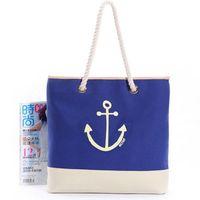 bolsos de anclaje al por mayor-FGGS Hot Retro Moda Mujer Niñas Lienzo Bolso Anchor Tote Bolso de compras Bolso (Color: Azul)