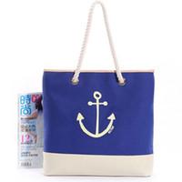 sacs à main bleu ancre achat en gros de-FGGS Hot Retro Mode femmes filles toile sac à bandoulière Anchor Tote Shopping Bag