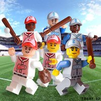 Wholesale Baseball Figures - 120pcs lot Baseball Team Figures Sport Series Base Ball Team Figure Baseball TBS 87-92 Mini Building Blocks Figures