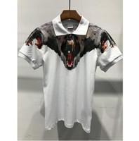 Wholesale photos wings - Original Quality real photo Marcelo Burlon Shirt Men printed Animals Snake Milan Feather wings shirt bears Streetwear polo Shirt