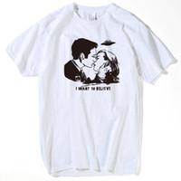 queria top venda por atacado-X-FILES T shirt Dos Homens 2018 verão Mulder Scully Eu Quero Acreditar T-shirt Masculino Hip Hop UFO Tees Beijo Impresso Top Roupas s-xxxl