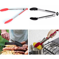Wholesale catering tools - New BBQ Food Clip Heat Resistant Silicone Stainless Steel Kitchen Cooking Cake Bread Catering Baking Tools Kitchen Accessories WX9-13
