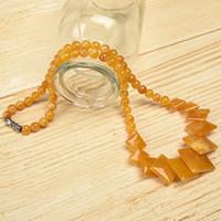 gelbe jaspis halskette großhandel-6 mm-19 mm Die goldene Farbe Fügen Sie Glanzgelb und Straddle-Perlen hinzu. Topas-Jaspis-Halskette Ihre glückliche Halskette