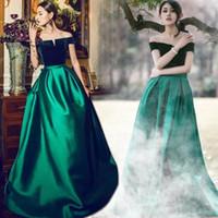 zümrüt yeşil çizgi toptan satış-Tekne Boyun A Hattı Uzun Resmi Elbiseler Zümrüt Yeşil Zarif Abiye Kadife Saten Balo Giymek