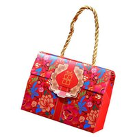 ingrosso decorazione cinese della scatola-Scatola di caramelle tradizionale cinese felicità doppia con manico scatola regalo portatile decorazione bomboniera matrimonio ZA6411