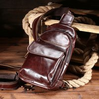 Wholesale Travel Sling Bag For Men - Brand New Men's Vintage Sling Bag Large capacity leather Sports Bag Designer High quality leather Shoulder Bag for outdoor