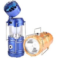 caja de linterna al por menor al por mayor-Solar recargable LED linterna Fan Banco de la energía tienda de campaña Luz de la linterna de la lámpara con la caja al por menor de alta calidad