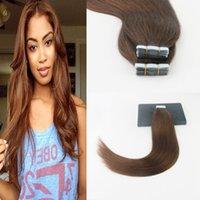 atkı insan saçı paketi toptan satış-Saç Uzantıları İnsan Saç Dokuma 14-24 Inç 50 g / paket 20 adet Dikişsiz Cilt Atkı Remy Düz Saç 2 # 4 # Koyu Kahverengi
