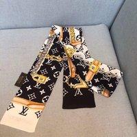 ingrosso nastri stretti-Sciarpa di design signore sottile borsa stretta maniglia sciarpa di seta double-sided stampato twill raso marchio piccolo nastro a021