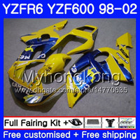 99 yamaha r6 verkleidungen blau großhandel-Karosserie für YAMAHA YZF R6 98 YZF600 YZFR6 98 99 00 01 02 230HM.1 YZF 600 YZF-R600 YZF-R6 CAMEL blue factory 1998 1999 2000 2001 2002 Verkleidungen