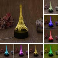 ingrosso 3d torre eiffel led-New 3D Fashion Romantic Francia Torre Eiffel LED Night Light RGB Variabile Mood Lampada Camera da letto Lampada da tavolo Kids Friends Famiglia Bambino Bambini Regali