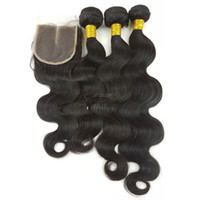 Wholesale wholesale hair weave suppliers online - Chinese Supplier virgin human hair extensions unprocessed Brazilian body wave weave closures and bundles