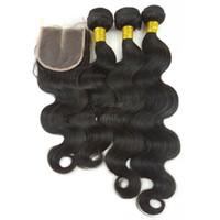 çince saç örgüsü uzantıları toptan satış-Çin Tedarikçisi 100 bakire insan saç uzantıları toptan işlenmemiş Brezilyalı vücut dalga örgü kapanışları ve demetleri