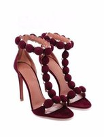 Wholesale Tie Up Balls - Woman's Spot high heel T-tied stilettos girl's sexy Ankle-Wrap Leakage toes pumps Button ball design Solid Buckle Strap Sandals