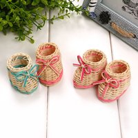 Wholesale baby shower baskets resale online - Creative Cute Mini Shoes Weave Storage Baskets Desktop Decoration Baby Shower Wedding Party Favors And Gifts ZA6435