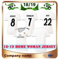 Wholesale ronaldo grey uniform online - 18 New Real Madrid Woman Home White ASENSIO Soccer Jersey Madrid Club team RONALDO ISCO KROOS MARCELO lady Football shirt uniform