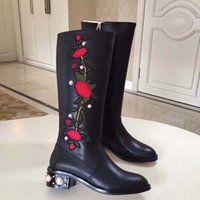 Wholesale pearl boots for sale - Group buy Stylish long barrelled boots decorated with red flowers and pearls Autumn Winter New Designer Brand Elegant Shoes