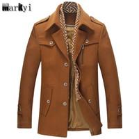 хорошие зимние пальто бренды оптовых-MarKyi fashion 2017  winter men wool pea coat good quality turn down collar mens long overcoat plus size 3xl
